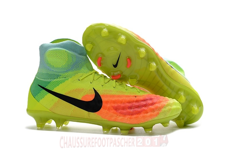 Nike Chaussure De Foot Magista obra II FG Orange Jaune Bleu