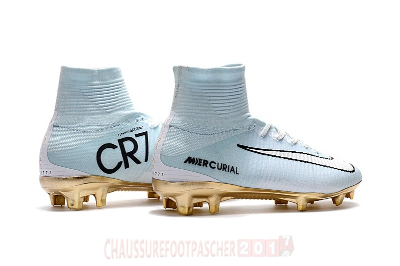Nike Chaussure De Foot Mercurial Superfly CR7 FG Blanc Or