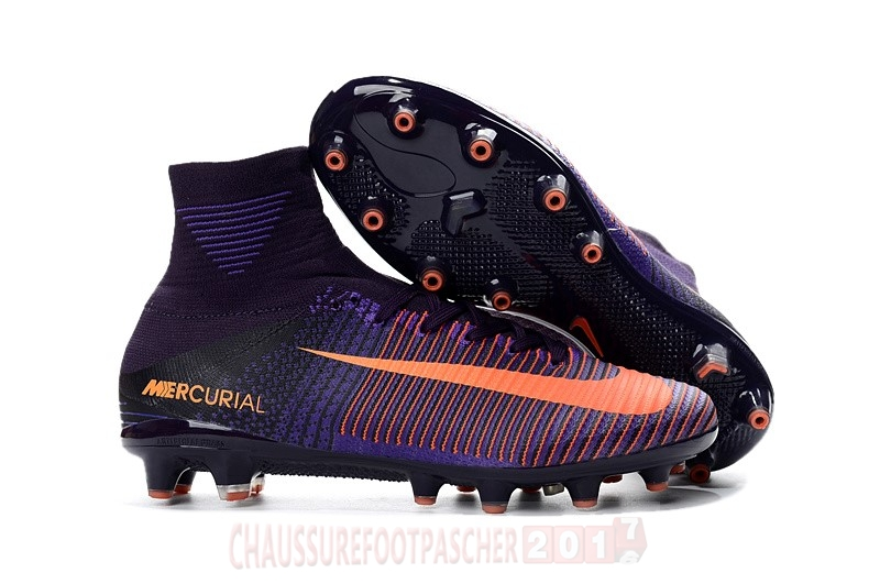 Nike Chaussure De Foot Mercurial Superfly V AG Orange Pourpre