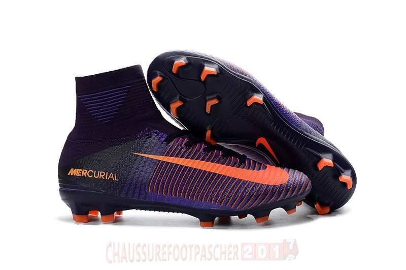 Nike Chaussure De Foot Mercurial Superfly V FG Orange Pourpre