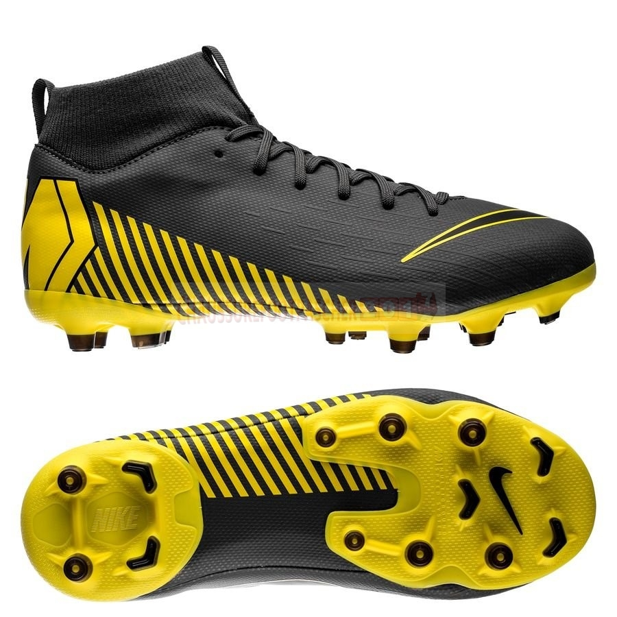 Nike Chaussure De Foot Mercurial Superfly 6 Academy Enfants MG Game Over Noir Jaune
