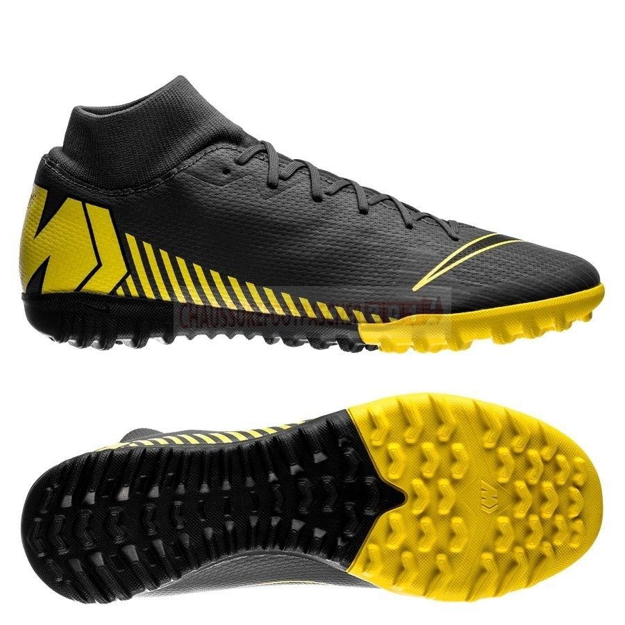Nike Chaussure De Foot Mercurial Superfly 6 Academy Enfants TF Game Over Noir Jaune