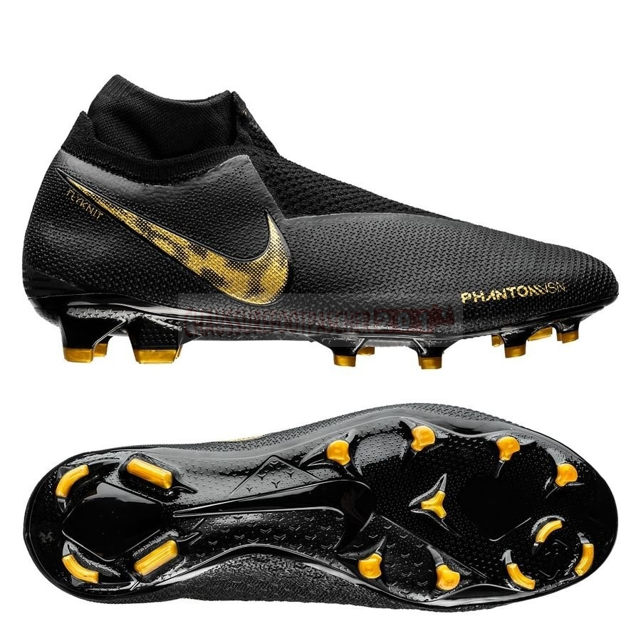 Nike Chaussure De Foot Phantom Vision Elite DF FG Black Lux Noir Or