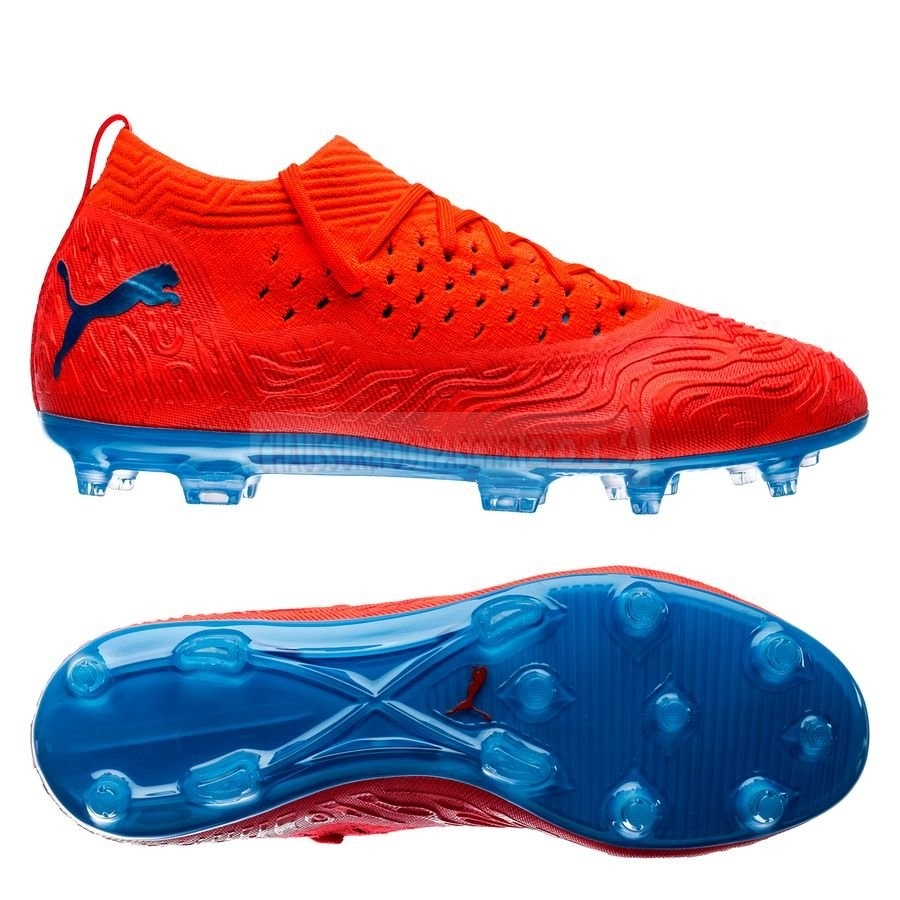 Puma Chaussure De Foot Future 19.2 Netfit FG/AG Power Up Rouge Bleu