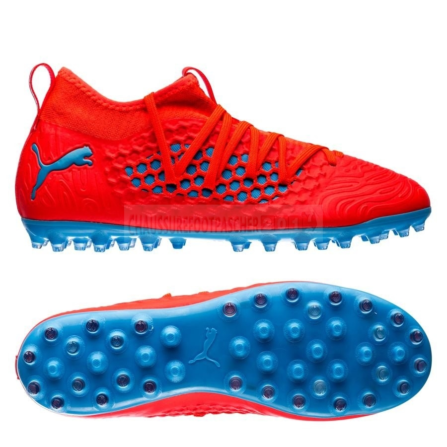 Puma Chaussure De Foot Future 19.3 Netfit Enfants MG Power Up Rouge Bleu