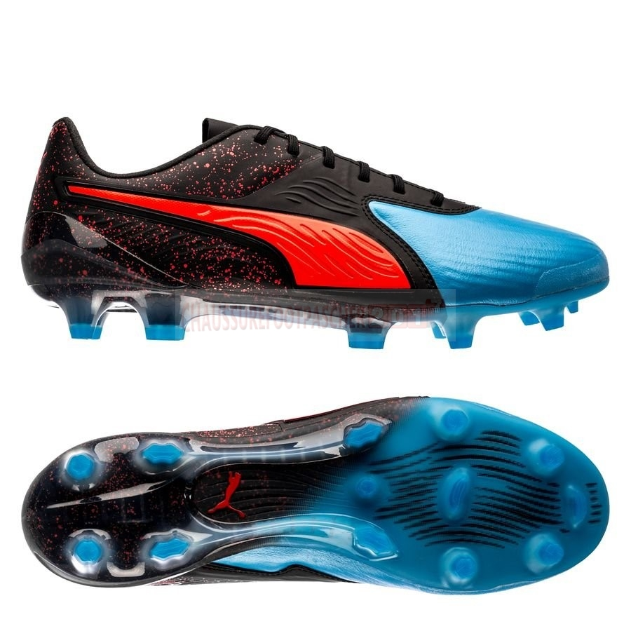 Puma Chaussure De Foot One 19.1 CC FG/AG Power Up Rouge Noir Bleu