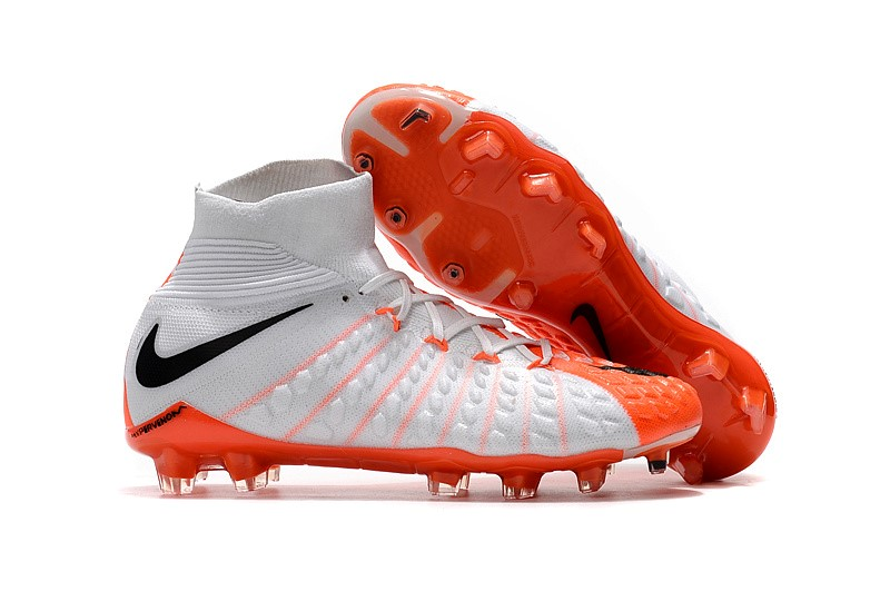 NIke Chaussure De Foot Hypervenom Phantom III DF FG Blanc Orange
