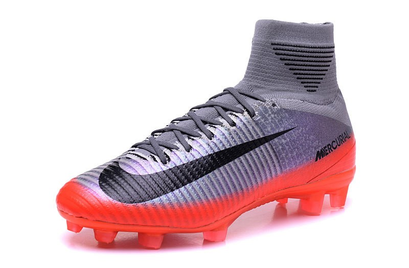 Nike Chaussure De Foot Mercurial Superfly V CR7 FG Argent Gris Orange