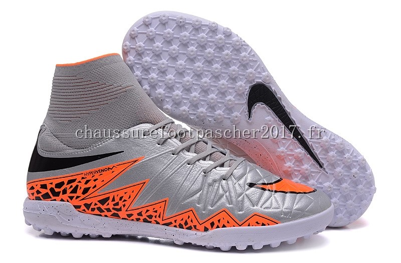 Nike Chaussure De Foot HyperVenom II Alto TF Gris Orange Blanc