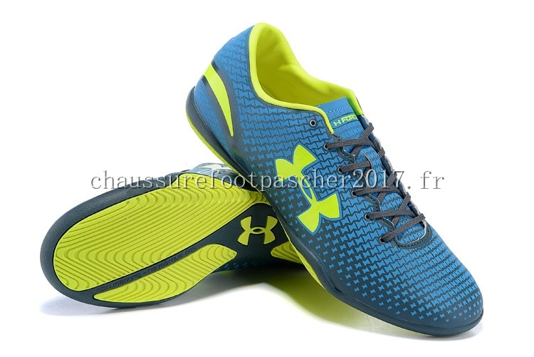 Under Armour Chaussure De Foot Clutchfit Force INIC Bleu Vert Fluorescent
