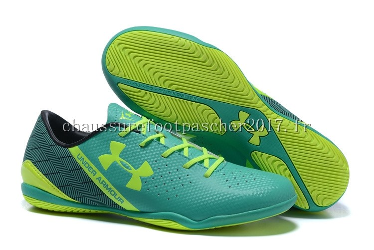 Under Armour Chaussure De Foot Clutchfit Force INIC Noir Vert Vert Fluorescent