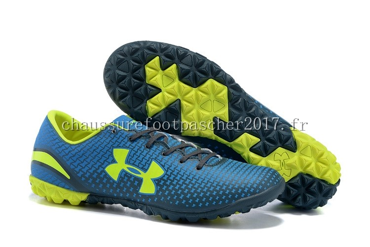 Under Armour Chaussure De Foot Clutchfit Force TF Bleu Vert Fluorescent